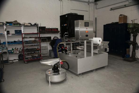Schrägbettfilter Pico für eine Schleifmaschine